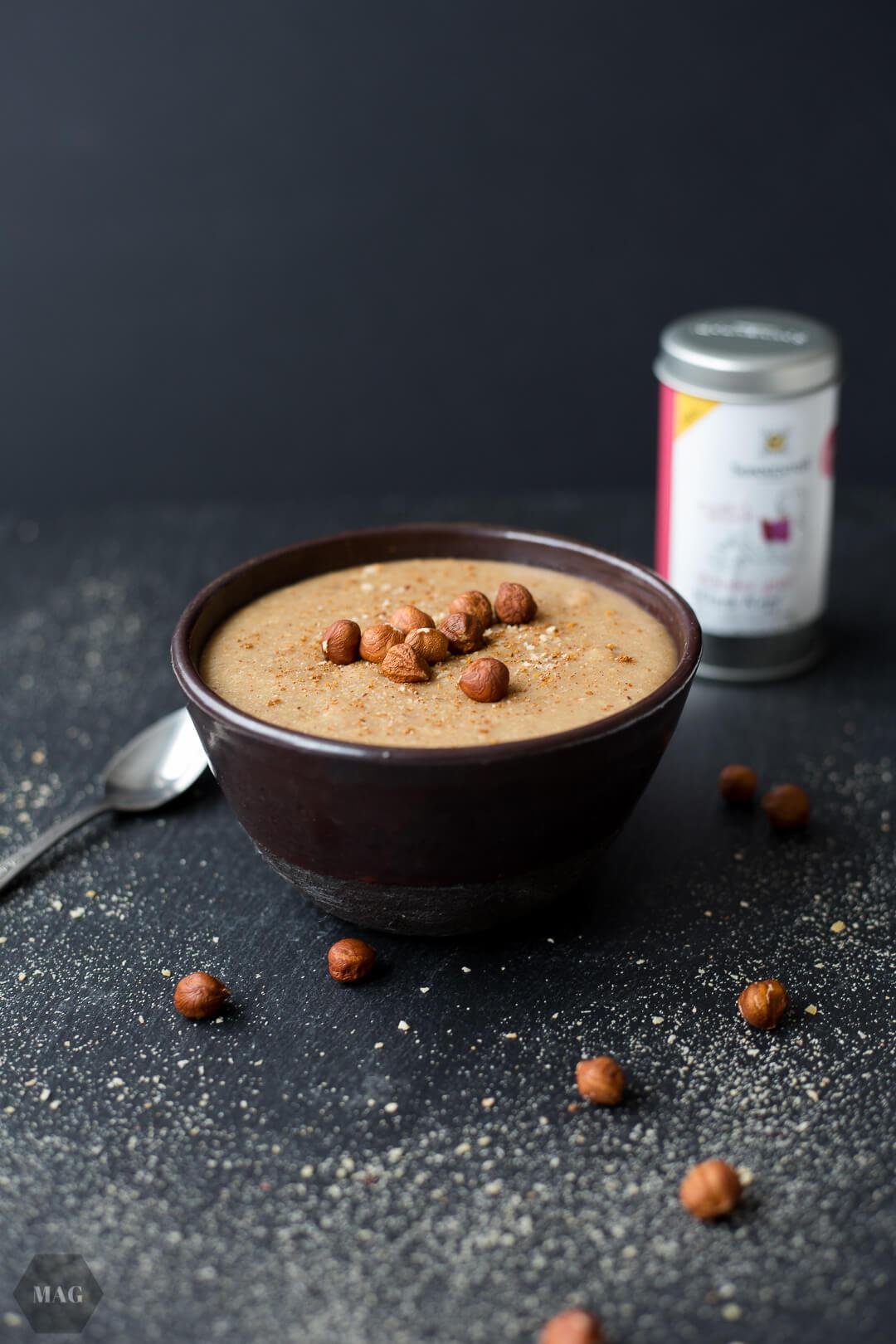 sonnentor, wieder gut! sonnentor, wieder-gut-linie sonnentor, haselnuss-pudding, pudding vegan, nuss pudding vegan selbst gemacht, pudding vegan selber machen, nusspudding selbst gemacht, gesunder pudding, sonnentor gewürze