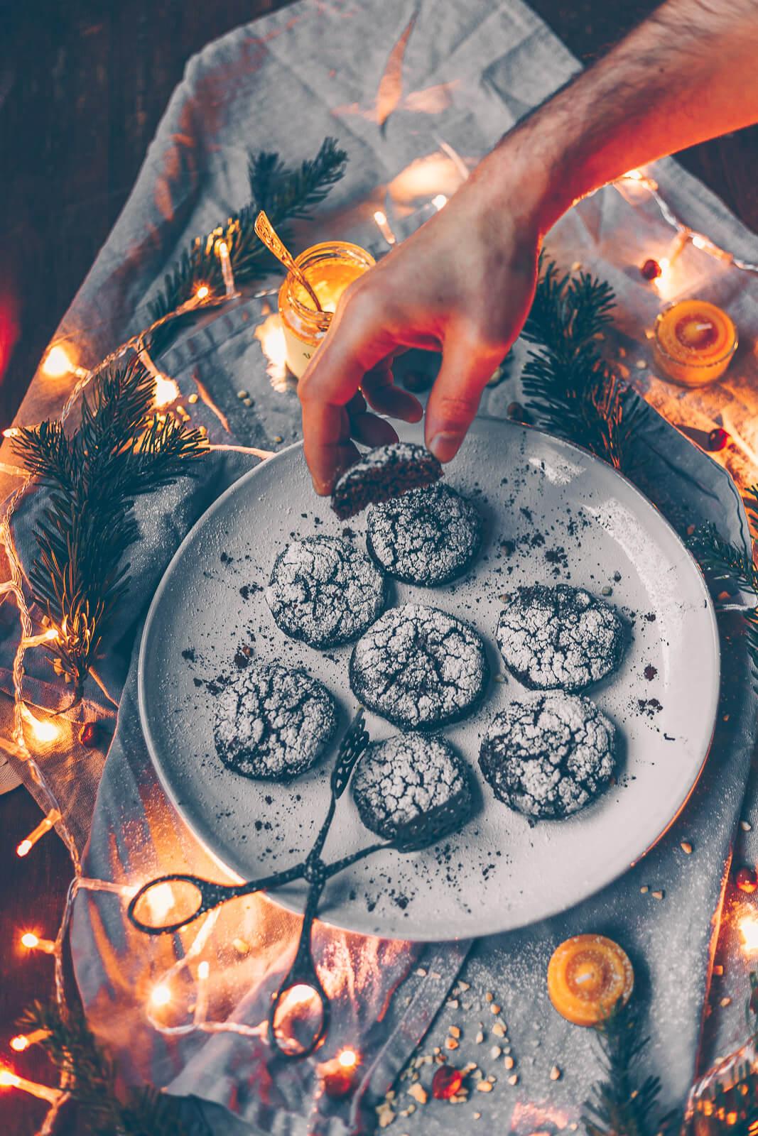 Schokoladen Weihnachtskekse.Lebkuchige Schoko Wölkchen